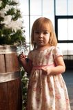 在家装饰圣诞树的小女孩 免版税库存图片