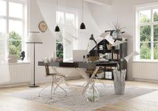 在家里面的当代工作区域设计 免版税库存图片
