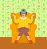 在家戴虚拟现实眼镜的老妇人 库存例证