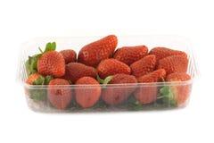 在容器正面图的成熟草莓隔绝了特写镜头 库存图片