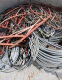 在容器的许多使用的缆绳 免版税库存图片
