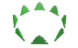 在宽cirlce的Cristmas树 查出在白色 免版税库存图片