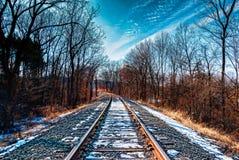 在宾夕法尼亚雪的铁路在轨道 免版税库存照片