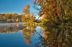 在寂静的水反映的秋叶 免版税库存图片