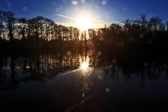 在寂静的水和树反映的日出,与透镜火光 库存照片