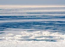 在密执安湖的冰冷的寒冷 图库摄影