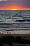 在密执安湖的平安的日落 库存图片