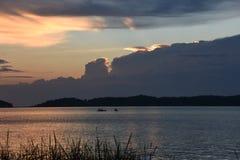 在密执安的大湖的内美好的日落 图库摄影