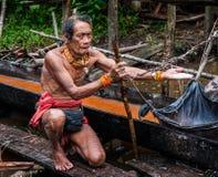 在密林供以人员Mentawai部落收集植物的 图库摄影