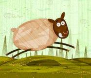 在密林森林背景的宠物绵羊 库存照片