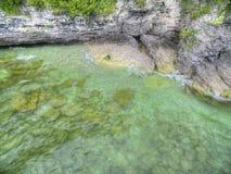 在密歇根湖的洞点在威斯康辛 免版税库存照片