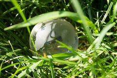 在密集的草的水晶地球 库存照片