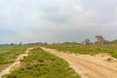 在富兰德铺沙在一个朦胧的荒地风景的轨道 免版税库存照片