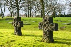 在富兰德领域的德国公墓friedhof menen比利时 免版税库存照片