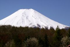 在富士山的好的清楚的天空在日本 库存图片