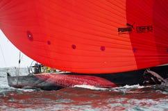 在富豪集团海洋种族的美洲狮的红色大三角帆 图库摄影