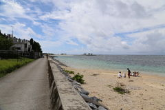 在寒风Fukugi树路,寒风村庄的海滩在冲绳岛,日本 免版税库存照片