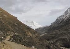 在对牛拉车旅行的gaumukh冰川主导的峰顶上面 图库摄影