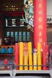 在寺庙的中国蜡烛 免版税库存照片