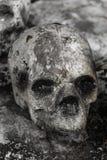 在寺庙的人的skulll 免版税库存图片