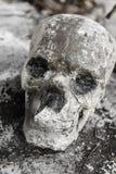 在寺庙的人的skulll 库存照片