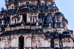 在寺庙的印地安叶猴sittng在亨比,卡纳塔克邦,印度 图库摄影