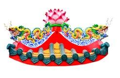 在寺庙的双重龙中国式雕象 图库摄影