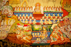 在寺庙的墙壁(Ramayana s上的传统泰国样式艺术绘画 库存图片