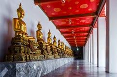 在寺庙的多个金黄菩萨雕象在泰国 免版税库存照片