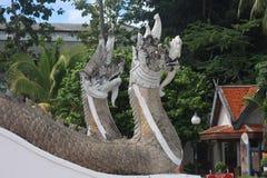 在寺庙的泰国龙 库存图片