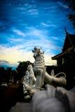 在寺庙的白色Singha 图库摄影