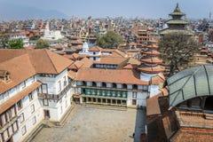 在寺庙的看法在Durbar广场,加德满都,尼泊尔 图库摄影