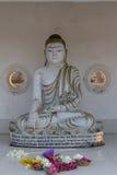 在寺庙的菩萨雕象在阿努拉德普勒的大Dagaba 库存图片
