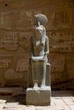 在寺庙的雕象在Medinat Habu 库存图片