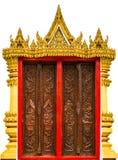在寺庙窗口的金黄艺术 库存照片