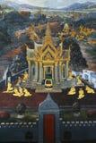 在寺庙窗口绘的美好的场面在盛大宫殿 图库摄影