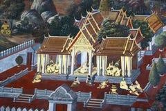 在寺庙窗口绘的美好的场面 免版税库存图片
