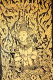 在寺庙门的绘画 库存照片