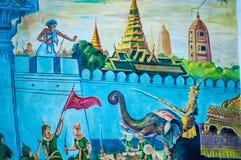 在寺庙,曼谷,泰国的泰国壁画 库存照片