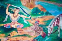 在寺庙,曼谷,泰国的泰国壁画 库存图片
