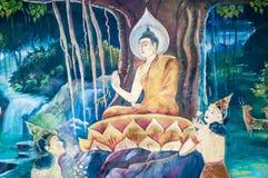 在寺庙,曼谷,泰国的泰国壁画 免版税库存照片