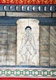在寺庙Wat Pho的绘画教针灸 免版税库存图片
