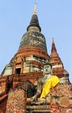在寺庙Wat Phra斯里Sanphet的古老菩萨雕象 ayutthaya?? 库存照片