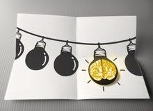在导线乱画的手拉的电灯泡 免版税库存图片