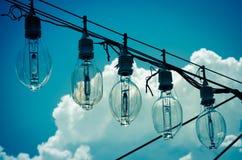 在导线的电灯泡 库存照片