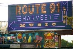 在射击事件以后的路线91收获活地点 免版税库存照片