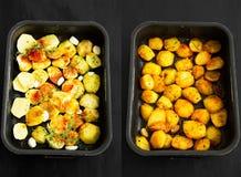在射击前后的未加工和被用烤箱烘的土豆 免版税图库摄影