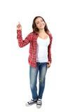 在射击学员工作室空白年轻人的背景女孩 免版税库存图片