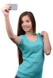 在射击工作室少年白色的背景女孩 免版税库存照片
