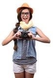 在射击工作室少年白色的背景女孩 免版税库存图片